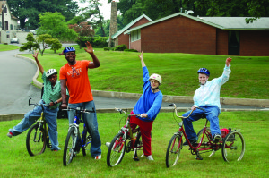 Maplewood Clients and Staff bike riding