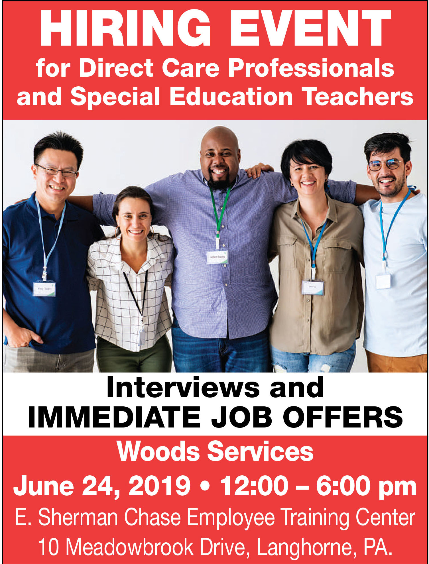 Join us for a Woods Hiring Event on Monday, June 24th from 12-6 pm